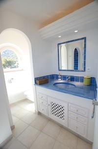 Plan vasque lave émaillée bleu moustiers moyen
