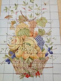 Corbeille de fruit sur 15x15 terre cuite bords droits
